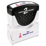 ACCUSTAMP2 Pre-Inked Shutter Stamp with Microban, Red/Blue, FOR DEPOSIT ONLY, 1 5/8 x 1/2 COS035523