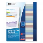 Avery Protect 'n Tab Top-Load Clear Sheet Protectors w/Five Tabs, Letter AVE74160