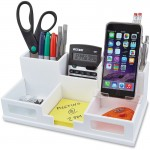 Pure White Collection Wood Desk Organizer with Smart Phone Holder W9525