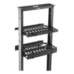"B-Line Rack-Mounted Double Sided Horizontal Manager W/ Cover, 19"" Width, 1U, Flat Black SB87019D1FB"
