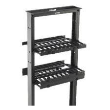 "B-Line Rack-Mounted Double Sided Horizontal Manager W/ Cover, 19"" Width, 2U, Flat Black SB87019D2FB"