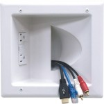 Peerless Recessed Low Voltage Media Plate With Duplex Surge Suppressor IBA5-W