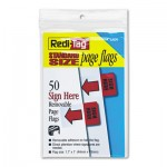 "Redi-Tag Removable/Reusable Page Flags, ""Sign Here"", Red, 50/Pack RTG76809"