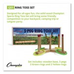Champion Sports Ring Toss Set, Plastic/Wood, Assorted Colors, 4 Rings/5 Pegs/Set CSIQS1