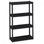 Iceberg Rough N Ready Four-Shelf Open Storage System, Resin, 32w x 13d x 54h, Black ICE20841