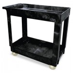 Rubbermaid Commercial FG9T6600BLA Service/Utility Cart, Two-Shelf, 34 1/8w x 17 3/8d x 32 3/8h, Black
