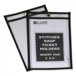 "C-Line Shop Ticket Holders, Stitched, Both Sides Clear, 25"", 5 x 8, 25/BX CLI46058"