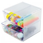 deflecto Stackable Cube Organizer, 4 Drawers, 6 x 7 1/8 x 6, Clear DEF350301