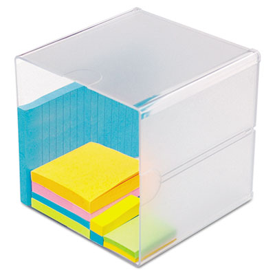 deflecto Stackable Cube Organizer, 6 x 6 x 6, Clear DEF350401