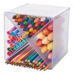deflecto Stackable Cube Organizer, X Divider, 6 x 7 1/8 x 6, Clear DEF350201