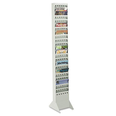 Safco Steel Magazine Rack, 23 Compartments, 10w x 4d x 65-1/2h, Gray SAF4322GR
