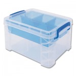 Advantus Super Stacker Divided Storage Box, Clear w/Blue Tray/Handles, 7 1/2 x 10.12x6.5 AVT37375