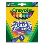 Crayola 523280 Ultra-Clean Washable Crayons, Large, 8 Colors/Box CYO523280