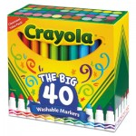 Crayola Ultra-Clean Washable Markers, Broad Bullet Tip, Assorted Colors, 40/Set CYO587858