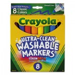 Crayola 587808 Ultra-Clean Washable Markers, Broad Bullet Tip, Classic Colors, 8/Pack CYO587808