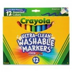 Crayola 587812 Ultra-Clean Washable Markers, Broad Bullet Tip, Assorted Colors, Dozen CYO587812