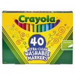 Crayola Ultra-Clean Washable Markers, Fine Bullet Tip, Classic Colors, 40/Set CYO587861