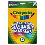 Crayola 587813 Ultra-Clean Washable Markers, Fine Bullet Tip, Assorted Colors, Dozen CYO587813