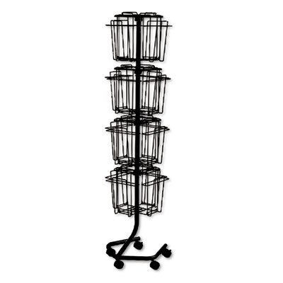 Safco Wire Rotary Display Racks, 16 Compartments, 15w x 15d x 60h, Charcoal SAF4139CH